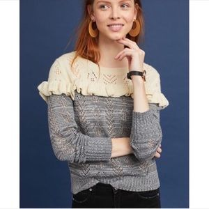 Anthropologie Harlyn Jona Ruffle Pullover Sweater